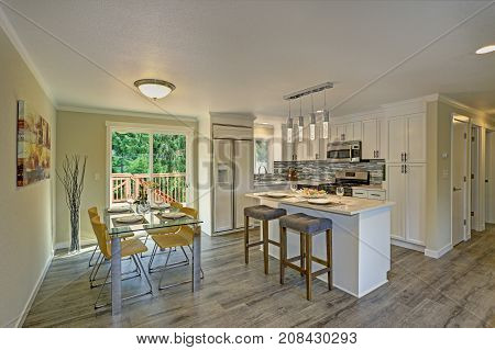 Beautiful Open Plan Second Floor White Kitchen With Dining Space