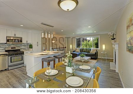 Beautiful Open Plan Second Floor Living Room, Kitchen And Dining Space