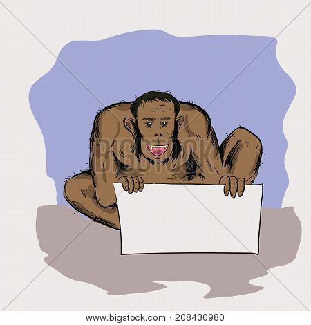 Caveman is Sitting and Holding a White Sheet of Paper
