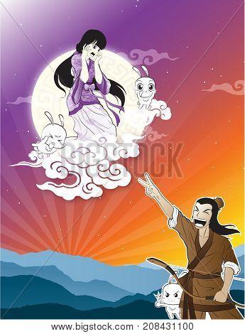 Chinese Story Cowherd and Weaver Girl Moon Festival Mid Autumn cartoon vector