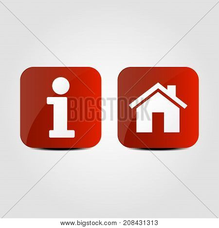 Info and Home icons on a red background. Vector illustration.