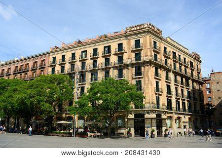 BARCELONA - JUN. 9, 2013: Hotel Colon Barcelona is a historic hotel in the Old City (Ciutat Vella) of Barcelona, Catalonia, Spain.