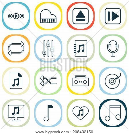 Audio Icons Set. Collection Of Note, Randomize, Following Music Elements