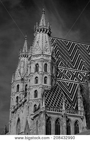 Stephansdom cathedral on Stephansplatz in Vienna, Austria in b/w;
