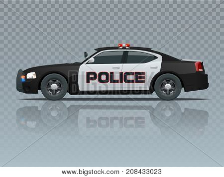Vector Police car with rooftop flashing lights, a siren and emblems. Template isolated illustration. View side on a transparent background. Change the colour in one click