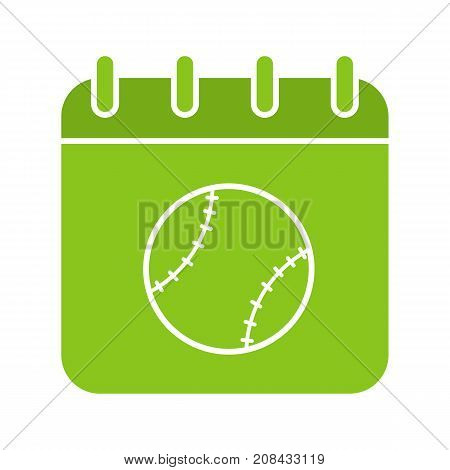 Baseball tournament date glyph color icon. Calendar page with softball ball. Silhouette symbol on white background. Negative space. Vector illustration