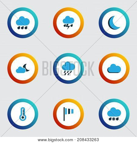 Air Colorful Icons Set. Collection Of Rainfall, Thunderstorm, Night And Other Elements