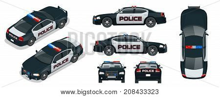 Vector Police car with rooftop flashing lights, a siren and emblems. Template isolated illustration. View front, rear, side, top and isometric. Change the colour in one click