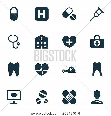 Drug Icons Set. Collection Of Surgical Bag, Heal, Retreat And Other Elements