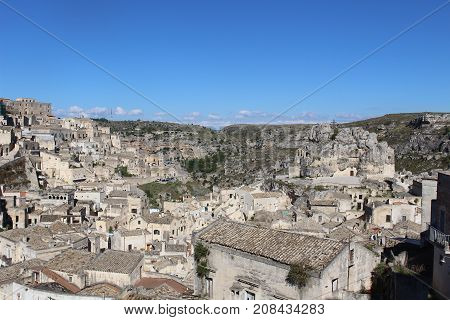 Overlooking Matera, cave city in Southern Italy