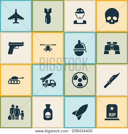 Army Icons Set. Collection Of Rocket, Danger, Chopper And Other Elements