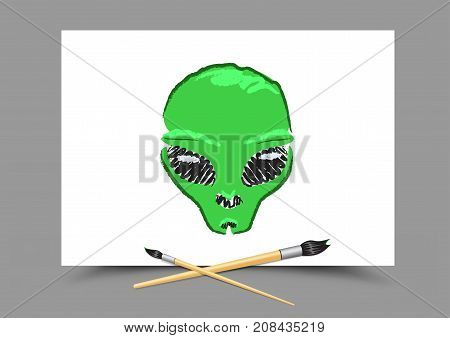 Drawing alien with black eyes on white paper. Educatoin paintbrush draw ufo