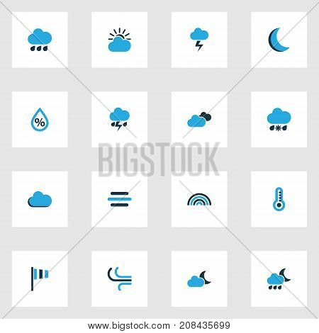 Weather Colorful Icons Set. Collection Of Overcast, Wind Speed, Arc And Other Elements