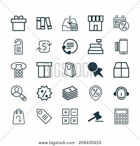 Ecommerce Icons Set. Collection Of Discount Location, Rebate Sign, Recurring Payements And Other Elements