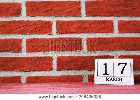 Cube Calendar On A Brick Wall Background