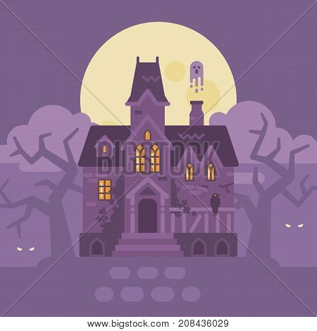 Abandoned Gothic Mansion With Ghosts. Halloween Haunted House Flat Illustration. Trick Or Treat. Dar