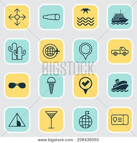 Travel Icons Set. Collection Of Shipping Tour, Direction Arrows, Marker And Other Elements