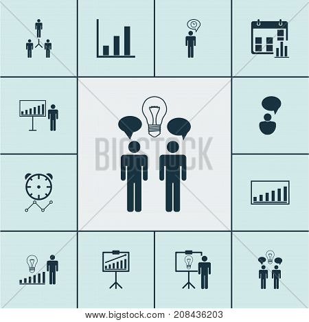 Executive Icons Set. Collection Of Decision Making, Presentation Date, Bar Chart And Other Elements