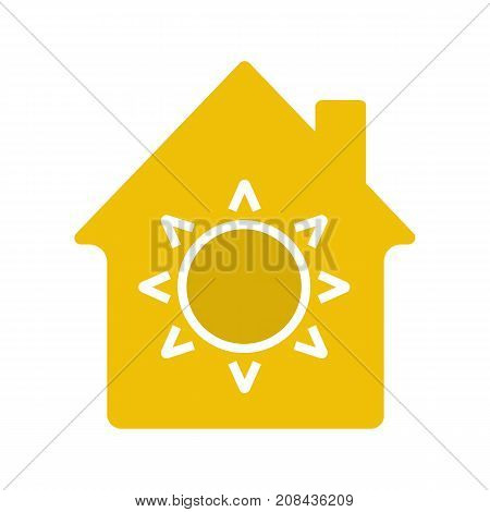 House eco electrification glyph color icon. House with sun inside. Silhouette symbol on white background. Negative space. Vector illustration