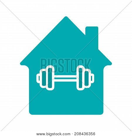 Home sport training glyph color icon. House with barbell inside. Silhouette symbol on white background. Negative space. Vector illustration