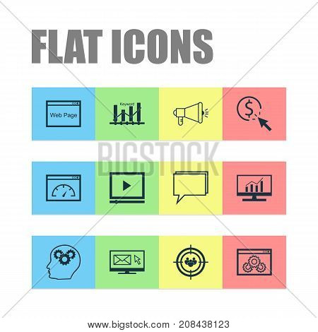 Advertising Icons Set. Collection Of Intellectual Process, Video Player, Newsletter And Other Elements