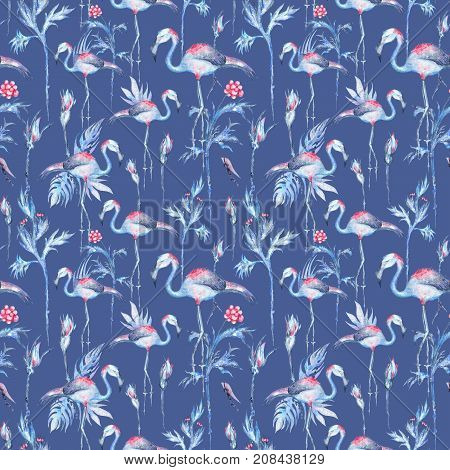 Seamless Watercolor texture with flamingo birds, plants and flowers for textile and wallpaper design