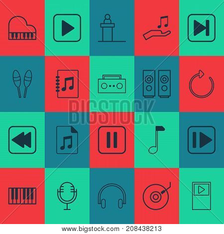 Audio Icons Set. Collection Of Mute Song, Skip Song, Gramophone And Other Elements