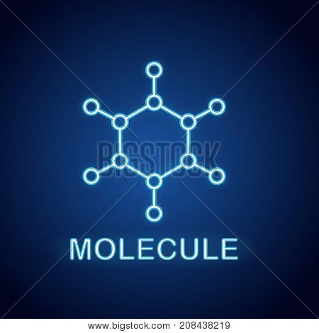 Molecule neon light icon. Glowing sign. Molecular structure model. Vector isolated illustration