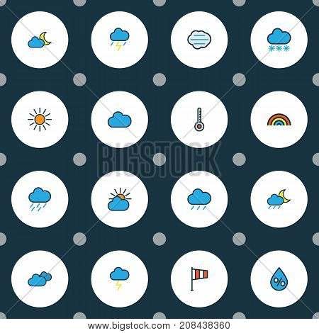 Climate Colorful Outline Icons Set. Collection Of Thunderstroke, Twilight, Hazy And Other Elements