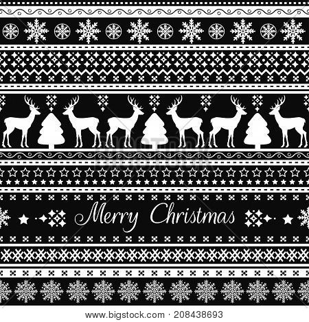 Christmas seamless pattern with holiday decoration on black background
