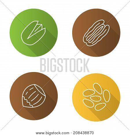 Nuts flat linear long shadow icons set. Hazelnut pistachio pinenut pecan nut. Vector outline illustration