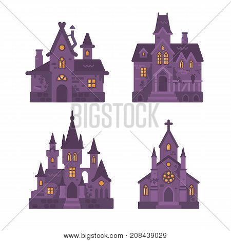 Four Halloween Buildings Flat Illustration. Witch Hut, Haunted House, Vampire Castle And Cemetery Ch