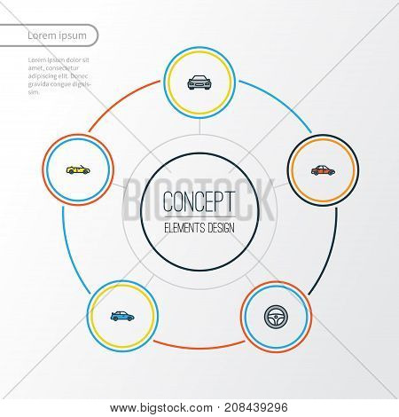 Automobile Colorful Outline Icons Set. Collection Of Sport, Rudder, Cabriolet And Other Elements