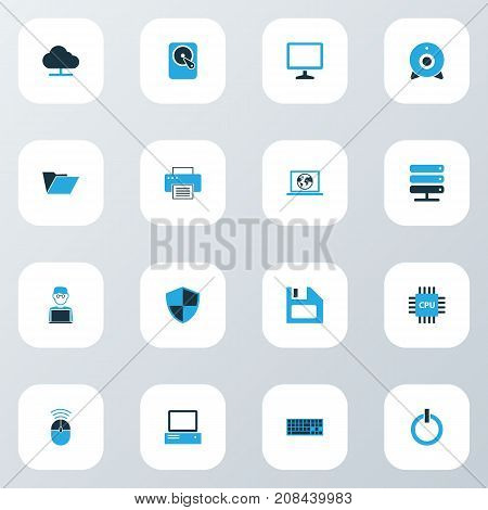 Computer Colorful Icons Set. Collection Of Control, Power, Storage And Other Elements
