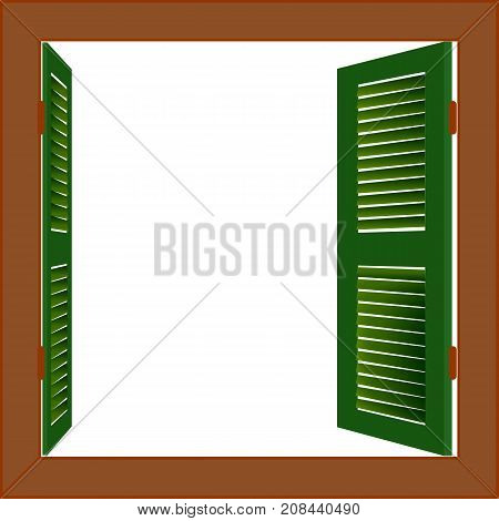 Vector copyspace for text or image. Open wooden window.Square frame