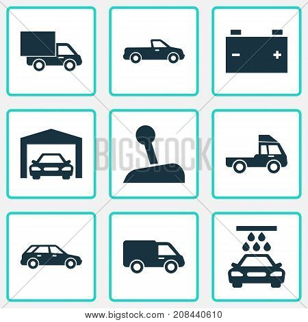 Car Icons Set. Collection Of Stick, Van, Lorry And Other Elements