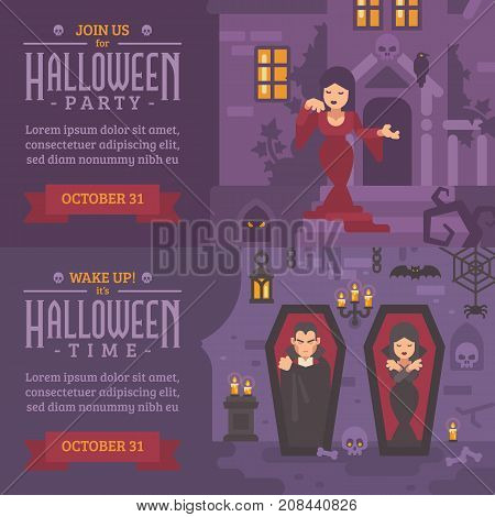 Two Horizontal Holiday Banners With Text. Join Us For Halloween Party. Young Girl In A Dress On The