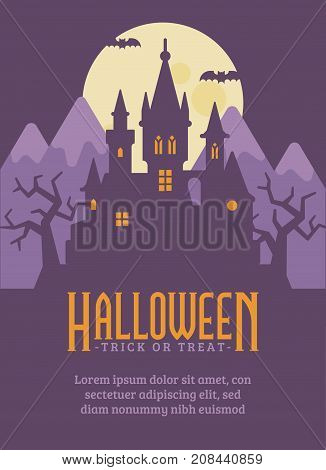 Halloween Poster With Dark Vampire Castle In The Mountains. Fantasy Flat Illustration Banner With Te