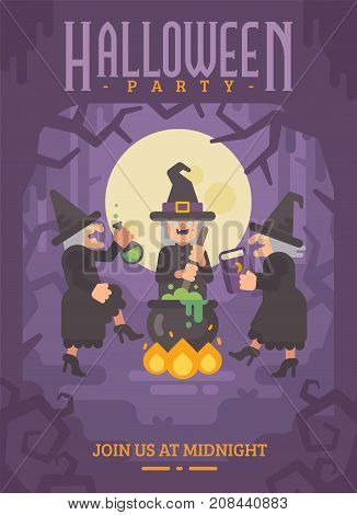 Halloween Poster With Three Wicked Old Witches Brewing A Potion. Three Evil Sisters Dancing Around T
