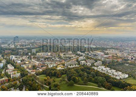 MUNICH - GERMANY SEPTEMBER 2017: Munich city on September 30 2017 seen from above from Olympia Tower in Bavaria Germany.