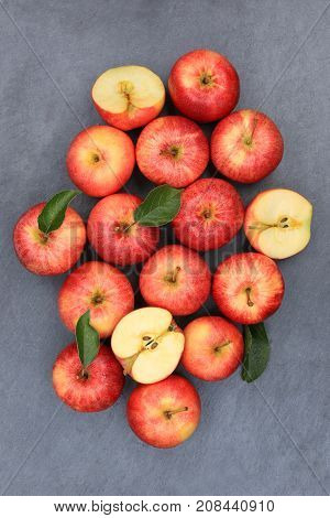Apples Apple Fruit Fruits Portrait Format Slate Red Top View