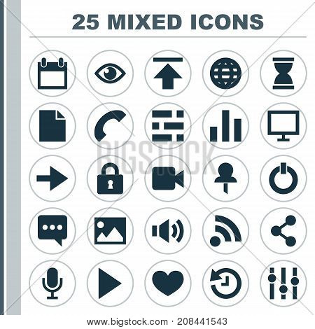 Interface Icons Set. Collection Of Column, Picture, Eye And Other Elements