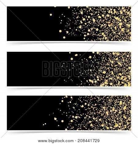 Bright gold glitter luxurious abstract modern cards collection. Modern elegant shimmer particle web header background pattern template set. Golden Dust. Shining Luxury Design. Vector illustration