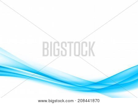 Abstract blue elegant speed air smoke border swoosh wave over white background. Fashion transparent gradient line pattern certificate acta page layout template. Vector illustration