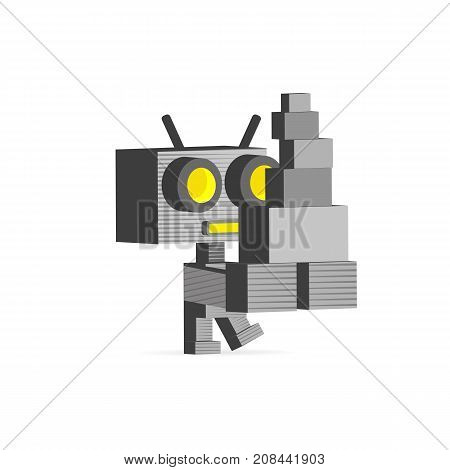 Robot computer job at office. Vector artwork depicts automation future concept artificial intelligence and robot replacing mankind.