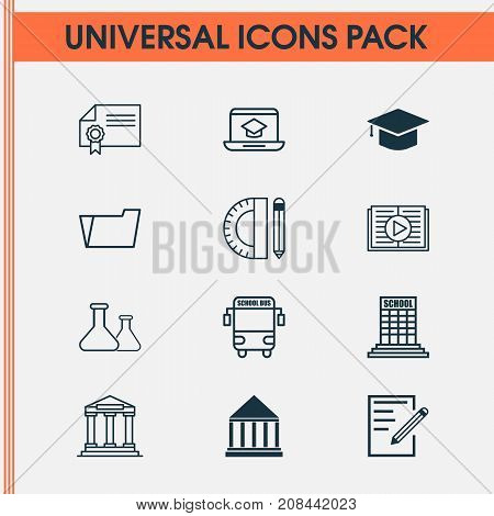 School Icons Set. Collection Of College, Chemical, Academy And Other Elements