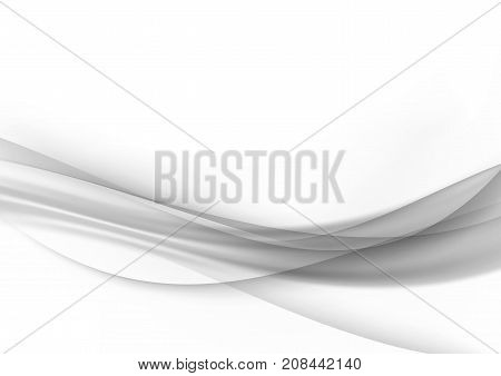 Grey abstract halftone wave mesh design. Bright abstract elegant hi-tech modern speed swoosh lines background. Smoke border over white. Vector illustration