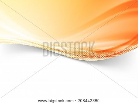 Abstract modern colorful bright orange dotted border background. Red speed wind swoosh transparent futuristic wave lines dotted. Vector illustration
