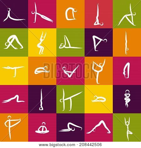 Icons of yoga asanas, poses. Isolated on color background. Vector illustration. Vector set of yoga poses. Human body stretching positions. Asana yoga concept. Poster. Yoga and Pilates poses. Modern