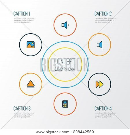 Music Colorful Outline Icons Set. Collection Of Picture, Volume Down, Player And Other Elements